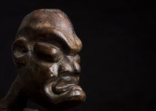 African mask over black background. With copy space Royalty Free Stock Photography