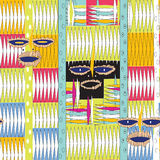 African mask pattern. African mask carpet like pattern with typical elements illustration and vector Royalty Free Stock Photo