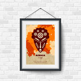 African Mask. Picture in a Black Frame Stock Photography
