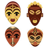 African mask set. Isolated on white Royalty Free Stock Images