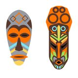 African mask vector set. Royalty Free Stock Photo
