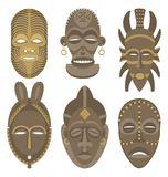 AFRICAN MASKS. Six African masks. No transparency and gradients used royalty free illustration