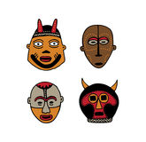 African Masks. Four hand drawn tradtional african masks Stock Photo