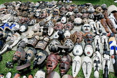 African masks. A south african flea market selling masks Stock Image