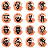 African masks. Colored splotches with african masks. Available as Illustrator-file Royalty Free Stock Images