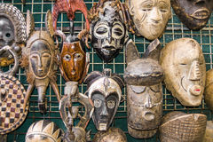 African masks. Bunch of African masks, South Africa royalty free stock image