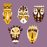 African masks collection. Royalty Free Stock Photo