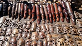 African Masks on Display Royalty Free Stock Image