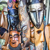 African masks in Morocco. Gift shop. Royalty Free Stock Photography