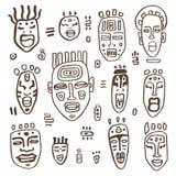 African Masks set. Stock Photo