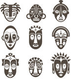 African masks set. Of icons Stock Image