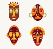 African masks set Stock Photos
