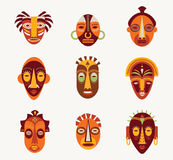 African masks set Royalty Free Stock Photography