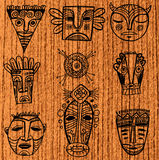 African masks. Set of tribal african masks and elements Royalty Free Stock Image