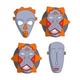 African masks set Stock Photo