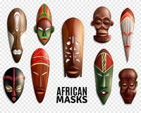 African Masks Transparent Icon Set. 3d and realistic african masks transparent icon set for interior decoration vector illustration Stock Image