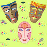 African masks. Vector set Royalty Free Stock Photography