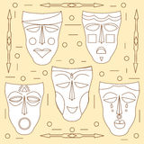 African masks. Vector set Royalty Free Stock Image