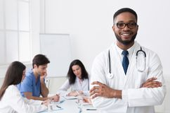 African Medical Doctor Looking At Camera During Conference royalty free stock photo