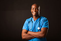 African medical doctor over black Stock Photo