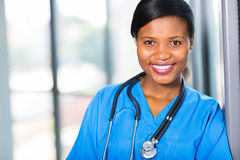 African medical professional. Attractive female african american medical professional in office Royalty Free Stock Photos