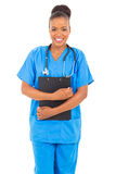 African medical professional. Happy female african american medical professional isolated on white Royalty Free Stock Images