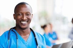African medical professional. Smiling african medical professional with stethoscope Stock Image
