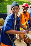 African Men playing traditional drums for Soweto township tourists. Johannesburg, South Africa, April 24, 2013, African Men playing traditional drums for Soweto stock photo