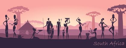 African men and women against the landscape of Africa. African sunset landscape with silhouettes of people vector illustration