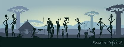 African men and women against the landscape of Africa. African sunset landscape with silhouettes of people Stock Photos