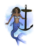 African Mermaid with Anchor- Splash Background Royalty Free Stock Photography