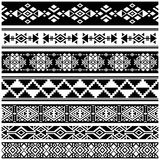 African and mexican aztec american tribal vector borders, frame patterns Stock Image