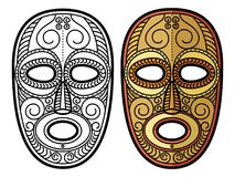 African, mexican aztec tribal mask isolated on white background. Coloring page with african, mexican aztec tribal mask isolated on white background. Vector royalty free illustration