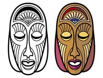 African, mexican, indian tribal masks isolated on white background. African, mexican, indian tribal masks of set isolated on white background. Vector Stock Images