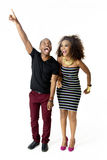 African Model Couple Together Having Fun in the Studio, Full Length Stock Photo