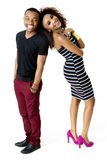 African Model Couple Together Having Fun in the Studio, Full Length Royalty Free Stock Images