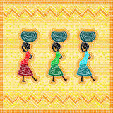 African mosaic. Mosaic of an african scene with women carrying food basket Royalty Free Stock Photos
