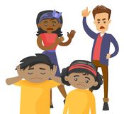 Multiracial parents scolding their mulatto kids. Royalty Free Stock Image