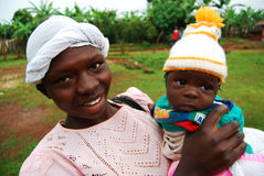 African Mother and Child. A new mother carries her child in Kapchorwa, Uganda, East Africa Stock Images
