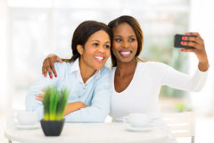 African mother daughter self portrait Stock Photos