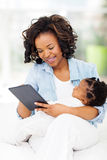 African mother tablet Stock Photography