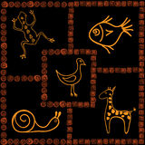 African motifs. Frames with pictures in African style Stock Image
