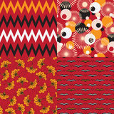 African motifs. Set of 4 seamless vector patterns. African motifs vector illustration