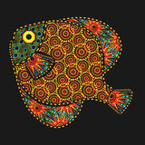 African motives fish. African motives ornate fish on black background Royalty Free Stock Image