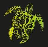 African motives floral turtle background. African motives tribal turtle background Royalty Free Illustration