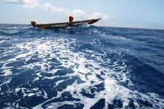 African motorboat in atlantic blue water Royalty Free Stock Image