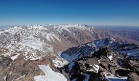 African mountains. View from the top of the mt Toubkal. Highest mountain in the North Africa. Morocco. High-Atlas Stock Photography