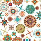 African multi pattern unique design. Seamless editable vector African multi pattern used for fabric textile design stock illustration