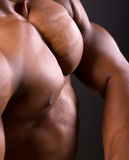 African muscular man body. Closeup shot Royalty Free Stock Images