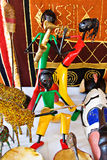 African musicians. Colorful figurines representing African musicians, traditional craft royalty free stock photography